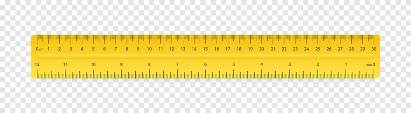 Ruler inches and cm scale on transparent background with shadow. Plastic yellow insulated ruler with double side measuring inches and centimeters. Ruler 30 cm scale. School geometric supplies. Vector