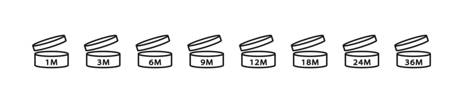 PAO Linear Icons Set. Period after opening. The shelf life of the cosmetics after opening the package in months. 1m, 3m, 6m, 12m, 18m, 24m, 36m month best before product mark. Vector illustration