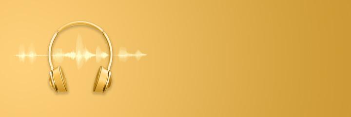 Golden headphones or headset and sound waveform on golden background, podcast or trendy music...