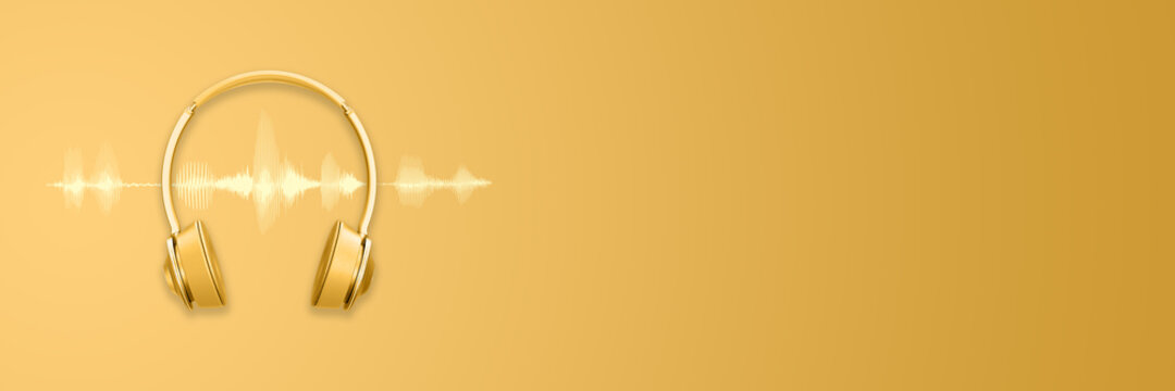 Golden headphones or headset and sound waveform on golden background, podcast or trendy music banner with copy space