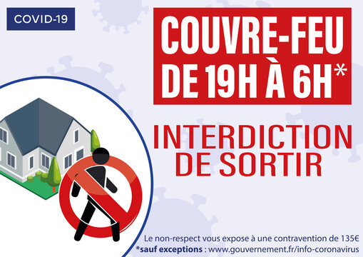 affiche sur le couvre feu à partir de 19 h jusqu'à 6h du matin sur tout le territoire français sous peine d'une amende de 135 euros en rouge et blanc avec une maison sur un fond mauve pictogramme