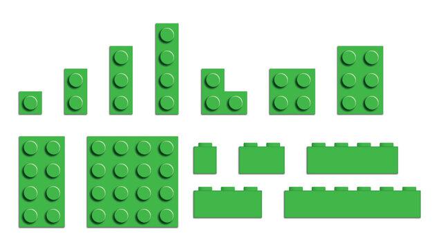 Set of building bricks in green color