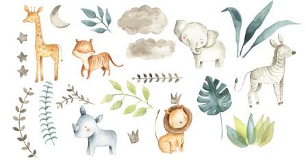 Safari animals watercolor illustration baby nursery