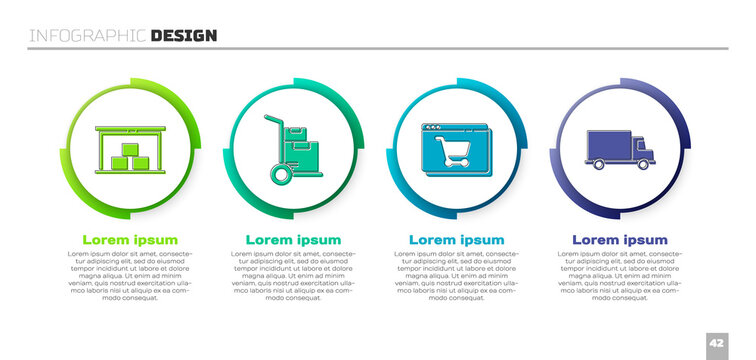 Set Warehouse, Hand truck and boxes, Online shopping on screen and Delivery cargo truck vehicle. Business infographic template. Vector