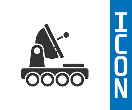 Grey Mars rover icon isolated on white background. Space rover. Moonwalker sign. Apparatus for studying planets surface. Vector