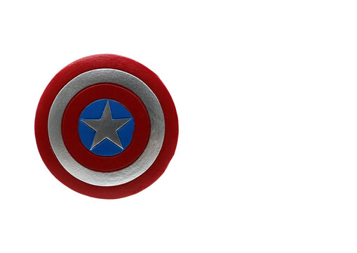 Bologna - Italy - March 22, 2021: Shield of Captain America with board to write.