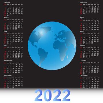 Calendar 2022 with a globe on the black sky