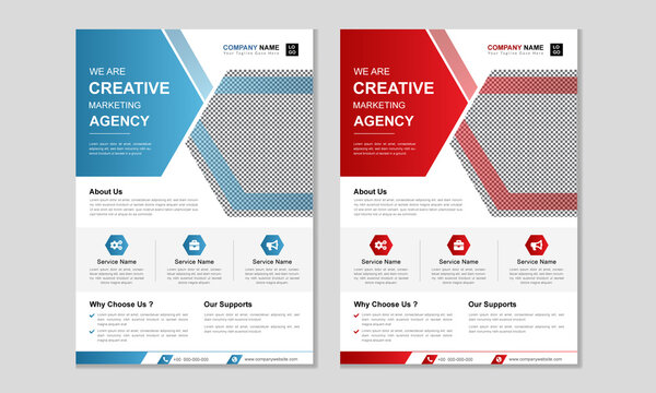 Creative corporate business agency flyer design template. Abstract minimal business vector flyer design