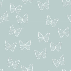 butterflies seamless pattern. gray wallpaper. spring Summer. ease. Print for fabric, wrapping paper. simple design. vector eps 10.