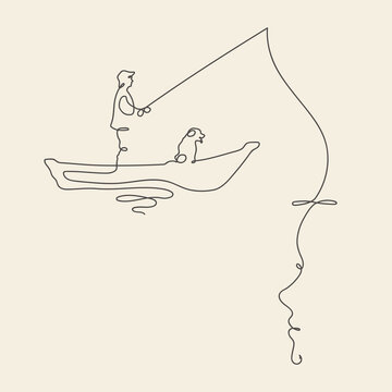 Fisherman in boat outline. Continuous line. Linear female portrait