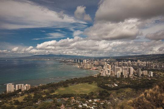 Waikiki neighborhood Honolulu, on the island of Oahu's south shore, is capital of Hawaii and gateway to the U.S. island chain.