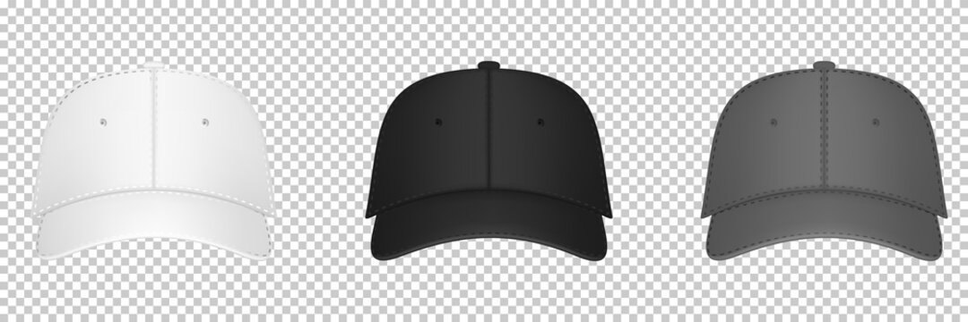 Baseball cap black, gray and white template. Design template closeup in vector. Realistic front view white baseball cap isolated on transparent background.