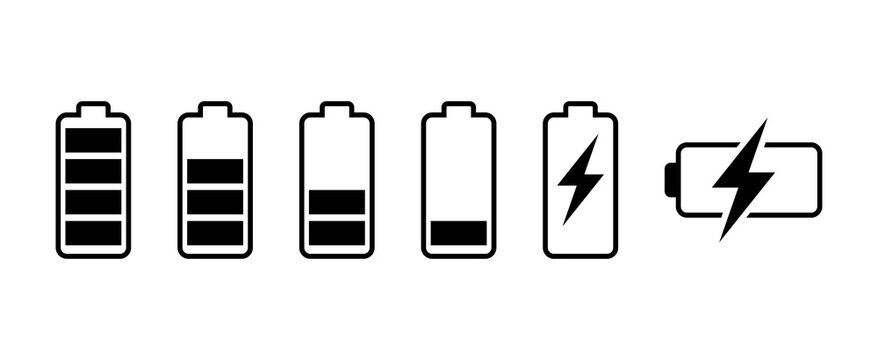 Battery icon set. battery charge level. battery Charging icon