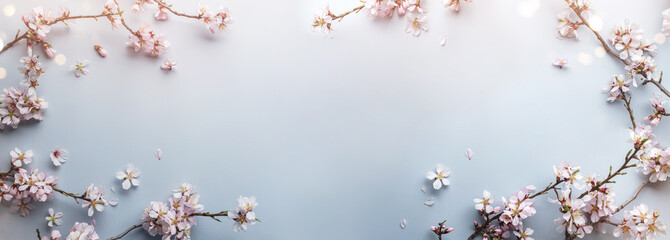 Flowering Spring, sakura blossoming branches on light blue background with bokeh, light. Happy...