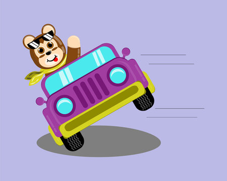 Illustration vector graphic cartoon character of cute monkey driving car for attractions. Childish cartoon design suitable for product design of children's books, t-shirt, greeting cards etc.