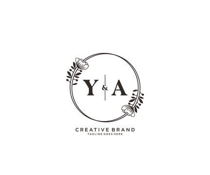 initial YA letters hand drawn feminine and floral botanical logo suitable for spa salon skin hair beauty boutique and cosmetic company.