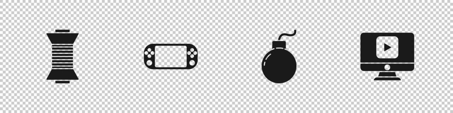 Set Sewing thread on spool, Portable video game console, Bomb ready to explode and Online play icon. Vector