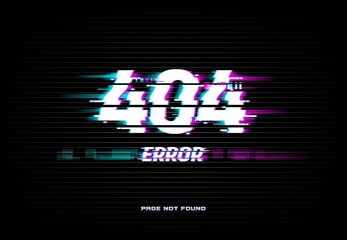 Fototapeta Page not found 404 error on glitched screen background. Problem with Internet connection, site access technical trouble and webpage loading failure concept with electric interferences vector effect obraz