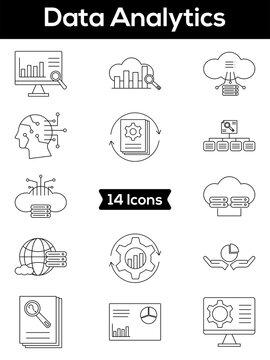 Linear Style Data Analytics Icon Or Symbol Set.