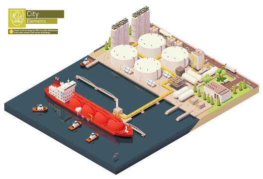 Vector isometric LNG carrier ship bunkering in LNG terminal. Tanker loading Liquefied Natural Gas at trading terminal. Vessel bunkering at gas storage