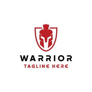 warrior helmet logo design vector with silhouette and modern style for armor company