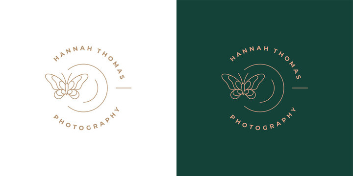 Butterfly with beautiful wings logo template linear vector illustration