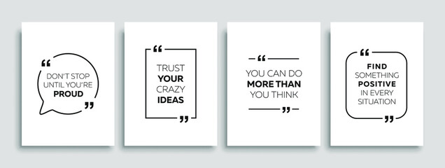 Fototapeta Motivational quotes. Inspirational quote for your opportunities. Speech bubbles with quote marks. Vector illustration. obraz