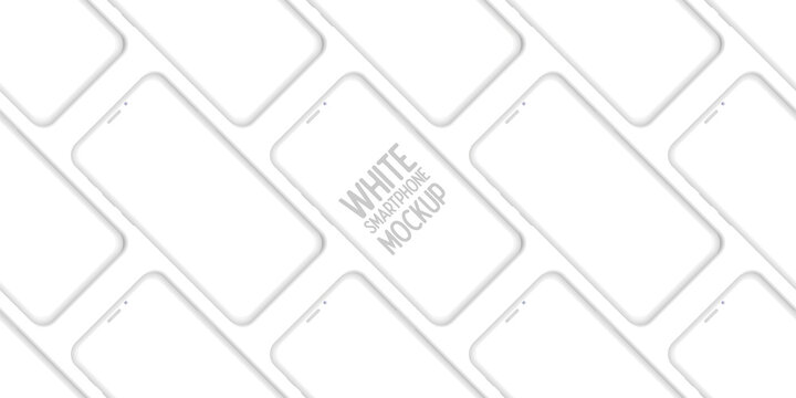 Mobile App Design Smartphone Clay Mockup With Space for Text Isolated on White Background. Vector Illustration