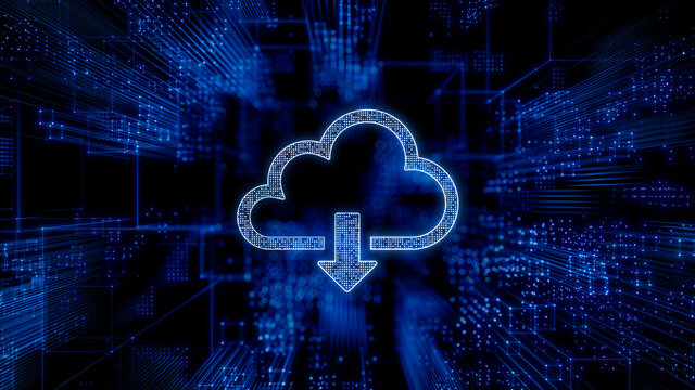 Data storage Technology Concept with cloud download symbol against a Futuristic, Blue Digital Grid background. Network Tech Wallpaper. 3D Render