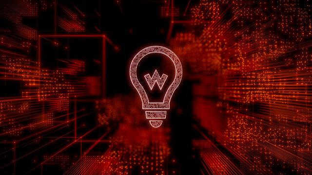 Innovation Technology Concept with lightbulb symbol against a Futuristic, Orange Digital Grid background. Network Tech Wallpaper. 3D Render