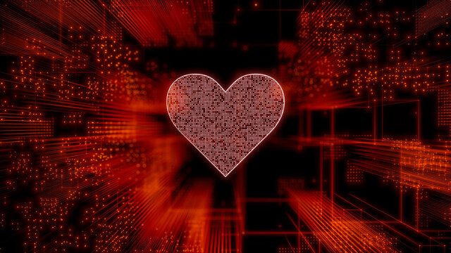 Love Technology Concept with heart symbol against a Futuristic, Orange Digital Grid background. Network Tech Wallpaper. 3D Render