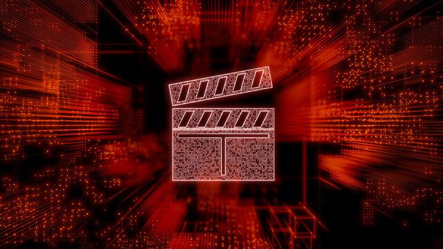 Entertainment Technology Concept with movie symbol against a Futuristic, Orange Digital Grid background. Network Tech Wallpaper. 3D Render