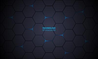 Dark gray hexagonal technology vector abstract background. Blue bright energy flashes under hexagon in modern technology futuristic background vector illustration. Dark gray honeycomb texture grid.