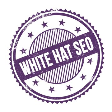 WHITE HAT SEO text written on purple indigo grungy round stamp.