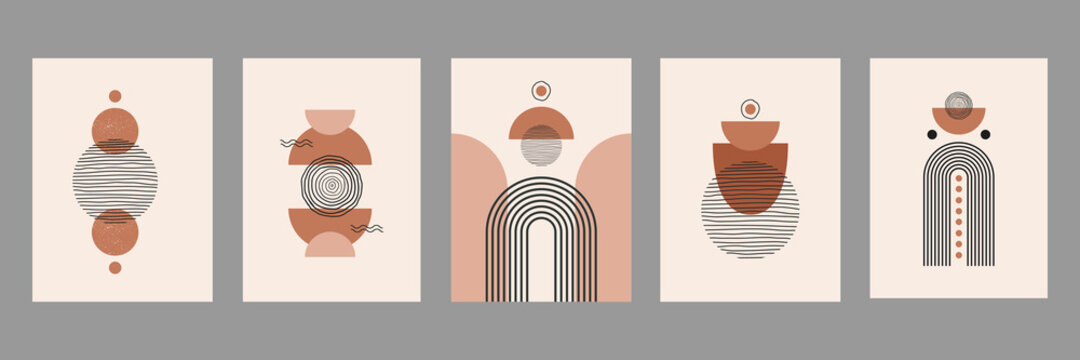 Modern abstract set aesthetic backgrounds with geometric balance shapes and lines. Wall decor in boho style. Mid century vector print for cover, wallpaper, card, social media, interior decor