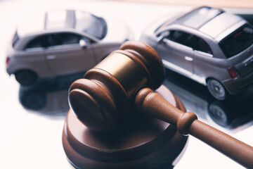 Obraz Model of car and gavel. Accident lawsuit or insurance, court case. - fototapety do salonu