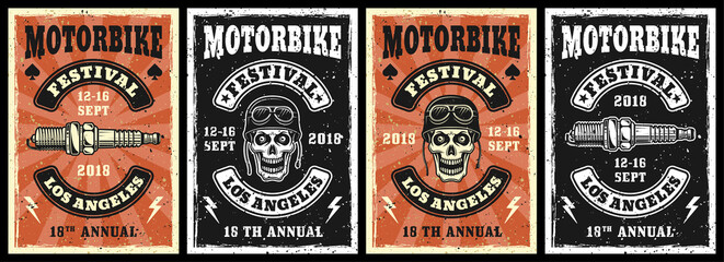 Obraz Motorcycle garage and repair service set of four vector posters in vintage style with skull and spark plug - fototapety do salonu