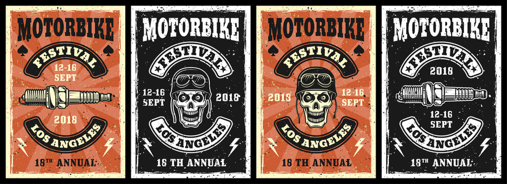 Motorcycle garage and repair service set of four vector posters in vintage style with skull and spark plug