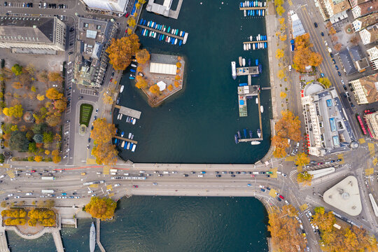 Top down view of Zurich old town where the limmat river meets the lake Zurich in Switzerland largest city.