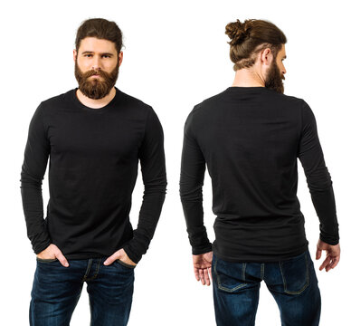 Bearded man with blank black long sleeve
