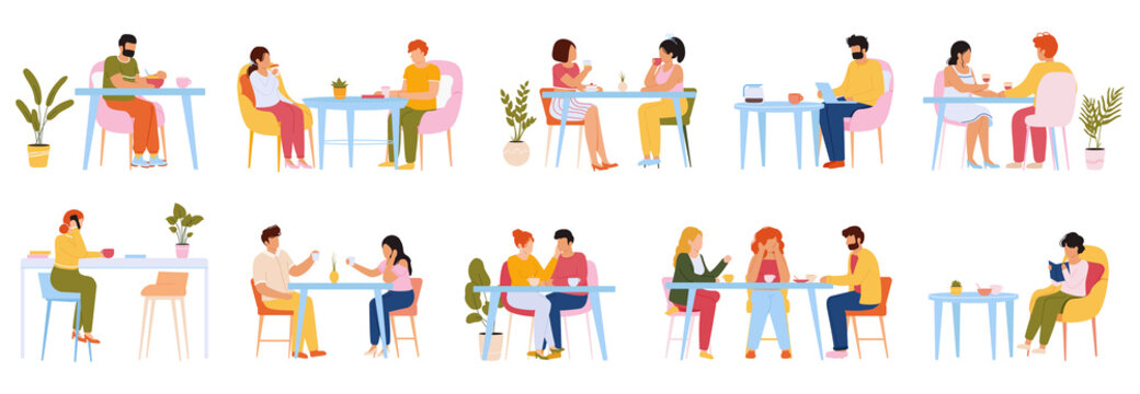 Eating people. Men and women eating meal in cafeteria, at home or restaurant, characters dining together. People eat food vector illustration set
