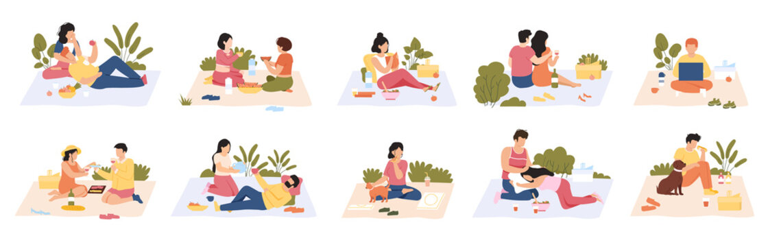 People at picnic. Outdoor meals, men and women eating delicious food on nature. Summer picnic recreation vector illustration set