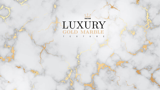Marble luxury realistic gold background. Stone veneer, marbling texture design for banner, invitation, headers, print ads, packaging design template. Vector illustration. Isolated on white background.