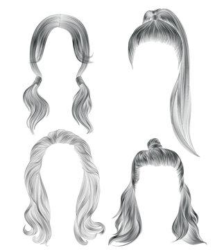 set long woman hairs.black  pencil drawing sketch . women fashion beauty style. tail HALF-BUN.