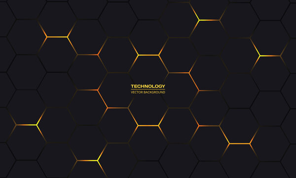 Black and yellow hexagonal technology vector abstract background. Yellow bright energy flashes under hexagon in modern technology futuristic background illustration. Dark gray honeycomb texture grid.