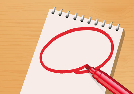 Composition présentant un bloc-notes et un marqueur rouge sur un bureau avec une page blanche pour écrire un message important.