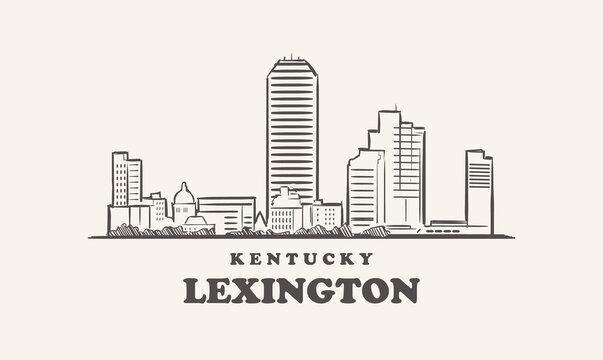 Lexington skyline,  kentucky drawn sketch