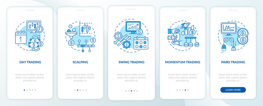 Stock trade approaches onboarding mobile app page screen with concepts. Scalping, swing types walkthrough 5 steps graphic instructions. UI, UX, GUI vector template with linear color illustrations