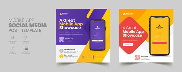 Fototapeta Mobile app promotion social media post banner template obraz