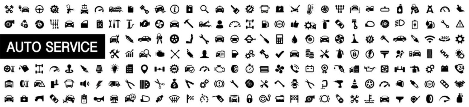 Auto service, car repair icon set. Car service and garage. Big collection: repair, maintenance, inspection, parts, units, elements - stock vector.